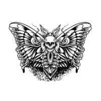 Schmetterling mit Totenkopf-Silhouette vektor