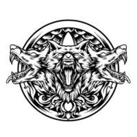 die Cerberus-Mythologie mit Ornamenten Silhouette vektor