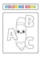 Malbuch, Bleistift mit Alphabet-Vektor vektor