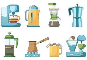 Reihe von verschiedenen Brühmethoden von Kaffee. vektor