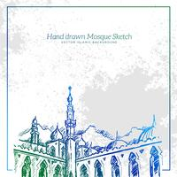 Handgezeichnete Moschee Sketch Illustration. Vektor-islamischer Grunge Hintergrund