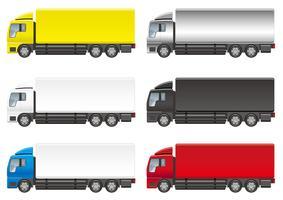 Sats med sex tunga lastbilar isolerade på en vit bakgrund.