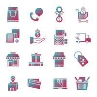 Commerce Farbverlauf Icons Set vektor