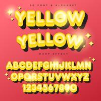 3D gul stiliserad text, teckensnitt och alfabet