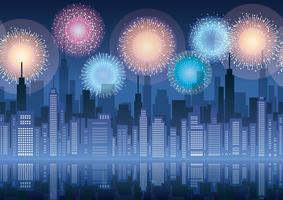 Nahtloses Stadtbild mit Wolkenkratzern und Feuerwerk.