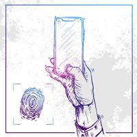 Illustration der Hand ein Telefon halten und Fingerabdruck tun