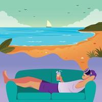 virtueller Urlaub am Strand vektor