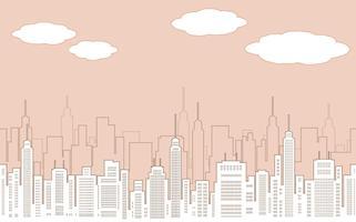 Nahtlose Stadtbildzeichnung mit Wolkenkratzern. vektor