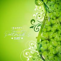 St. Patrick's Day Hintergrund Design mit grünen Klee vektor