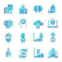 Finansiella gradient ikoner uppsättning
