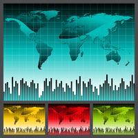 världskarta illustration med fyra färgvariationer.