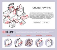 illustration av info grafisk online shopping set koncept vektor