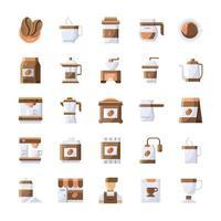 Reihe von Kaffeesymbolen mit flachem Stil. vektor