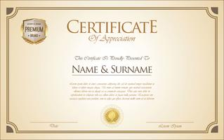 Zertifikat oder Diplom Retro Vorlage vektor