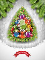 Abbildung der frohen Weihnachten mit Feiertagselementen