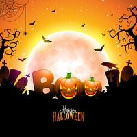 Boo, glückliches Halloween-Design vektor
