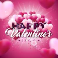 Alla hjärtans dagdesign med röda ballonger vektor