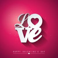 Alla hjärtans dagdesign med kärlekstypografi vektor