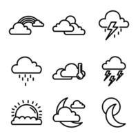 Set Symbol Wetter Umrissdesign vektor