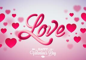 Alla hjärtans dagdesign med röda hjärtor och kärlek vektor