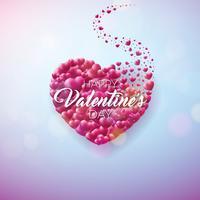Valentinsgruß-Tagesauslegung mit rotem Herzen