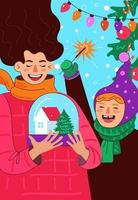 glückliche mutter und tochter oder sohn feiert neues jahr und frohe weihnachten vektor