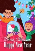 Frohe Weihnachten und ein glückliches neues Jahr-Poster. fröhliche Mama und Tochter vektor