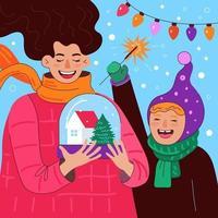 Frohe Weihnachten und ein glückliches neues Jahr quadratische Design-Grußkarte vektor