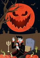 Vampir trinkt Blut im Grab Riss Grabstein auf dem Mondschein-Nacht-Friedhof vektor