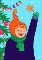 Urlaub Poster Kind lachen und Wunderkerze halten. glückliches kleines Mädchen vektor
