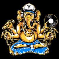 Ganesha mit musikalischem Attribut-Vektor vektor