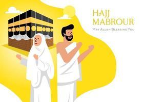 muslimische menschen und kaaba vektor