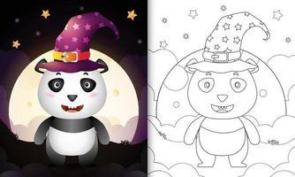 Malbuch mit einem niedlichen Cartoon Halloween Hexe Panda vor dem Mond vektor