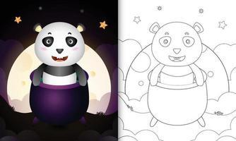 Malbuch mit einem süßen Panda im Hexenkessel vektor