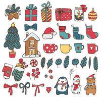 Weihnachtsferien Doodle Icon-Set vektor