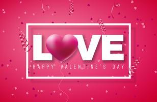 Valentinsgruß-Tagesentwurf mit rotem Herz-Ballon vektor