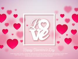 Valentines Day Design mit rotem Herzen und Liebe