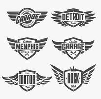 Embleme mit Flügel Set vektor