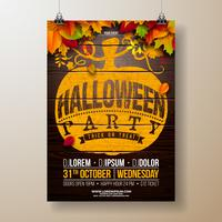 Halloween-Partyfliegerillustration mit Herbstlaub
