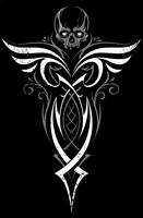 Gotische abstrakte Verzierung mit dem Schädel