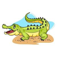 Tiercharakter lustiges Krokodil im Cartoon-Stil. vektor