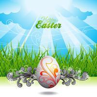 Påskillustration med målat ägg