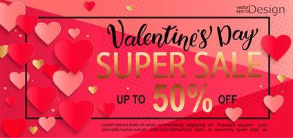Valentinsdag superförsäljning presentkort. vektor