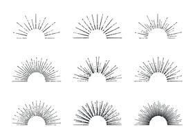 sunburst vektor uppsättning