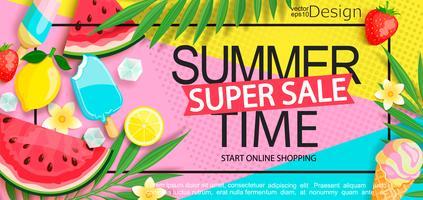 Super Sale Banner mit Gourmet-Essen. vektor