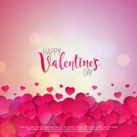 Lycklig Alla hjärtans dagdesign med röda hjärtor vektor