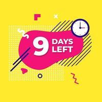 Verkauf Countdown flüssige abstrakte Elemente noch neun Tage vektor