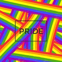 LGBT-Stolz-Flaggenfarben mit Pinselstrichen und Textstolz vektor
