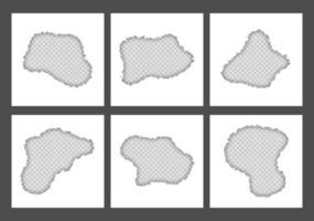 leere weiße zerrissene zerrissene in der mitte quadratische papierblätter sammlung vektor