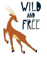 Impala. Zitate wild und frei. Hand zeichnen laufende Gazelle. vektor